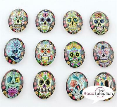 10 OVAL CANDY SKULL PRINTED CLEAR GLASS DOMED CABOCHONS 25mm X 18mm