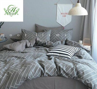 Modern Duvet Cover Stripe King with Grey Stripes Print 100% Cotton King Size and