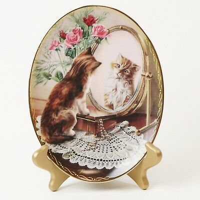 The Fairest of Them All Classic Elegance Longhair Tabby Cat Oval Collector Plate