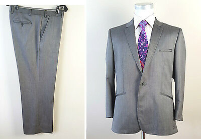 Ted Baker Pashion 42R Gray Mohair Wool Sharkskin Suit Flat Pants 36W 36x28
