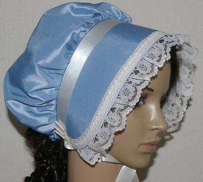 Victorian ladies bonnet costume fancy dress pale blue taffeta