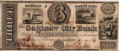 1838 $3.00 Obsolete Currency - The Saginaw City Bank - Michigan -  VF