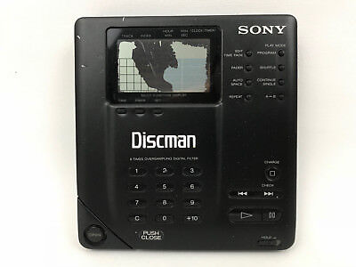 Sony Discman D-35 Portable CD Player AS IS For Parts / Repair Damaged Display