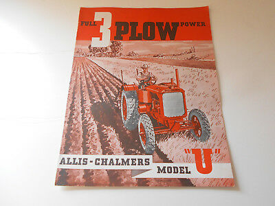 Vintage Antique Allis Chalmers Model U Farm Tractor Brochure from the 1930's