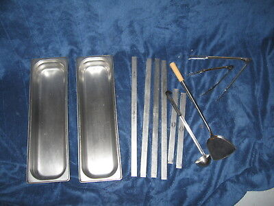 LOT OF STAINLESS STEEL-STEAM TABLE PANS long 1/2 SIZE 2 deep WITH ASST TOOLS