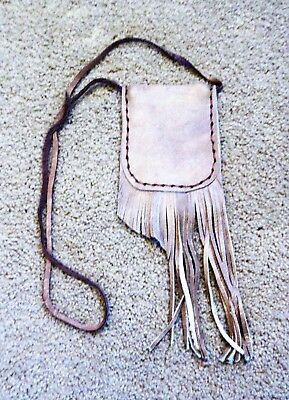 Tan Leather Pouch, Cherokee Made, Fringed Pouch, Medicine Pouch, Necklace  #6