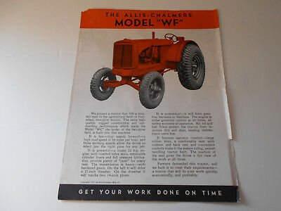 Vintage Antique Allis Chalmers Model WF Farm Tractor Brochure from the 1930's