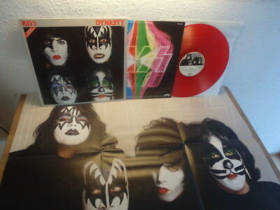 KISS DYNASTY WITH POSTER IN RED WAX GERMAN 70s LP MEGA RAR