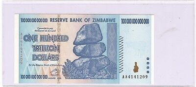 2008 Zimbabwe 100,000,000,000,000 One Hundred Trillion Dollar UNC Note