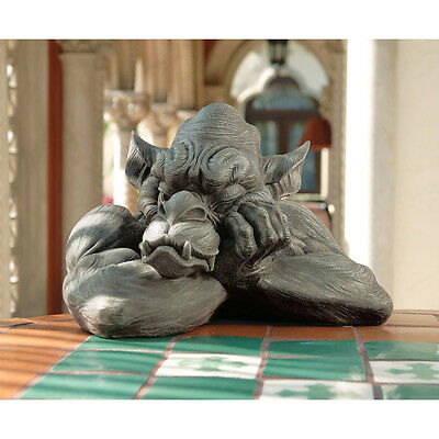 Gothic Beast Sleeping Scowling Muscled Medieval Guardian Gargoyle Sculpture