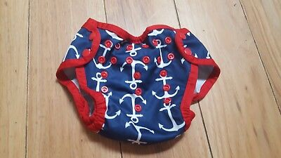Imagine blue and red anchor cloth diaper cover