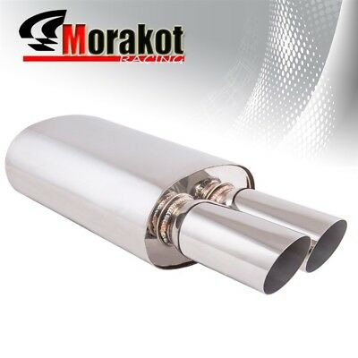 "Universal Exhaust Muffler w/ 3"" Slant Dual Tip 3"" Inlet Stainless Steel"