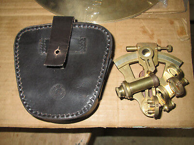 Antique Stanley London   Brass  Nautical  Navigation SEXTANT w LEATHER BOX