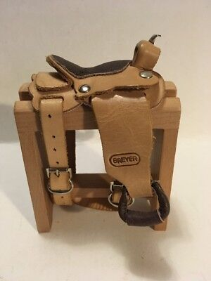 Breyer Western Saddle-Leather- Traditional-On Wooden Saddle Stand