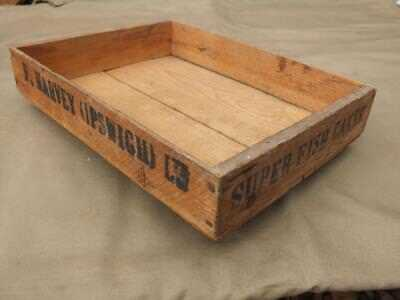 Vintage Wooden Packing Crate / Tray Advertising Fish Cakes By F Harvey Ipswich