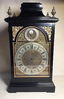 Mid 19th Century Triple Fusee Musical Bracket Clock in Ebony Bell Top Case. 18th