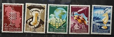 Yugoslavia - Chess Olympic Games 1950 Mi: 616 - 620 Mnh Rare