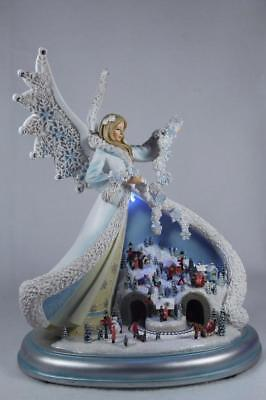 """11"""" Angel With Town Scene-Light Up-Rotates-Musical #32427 by Roman New In Box"""