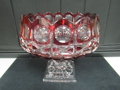"""Large Cranberry Red Cut To Clear Crystal Compote 9""""x9"""" Mint Bowl 2944"""