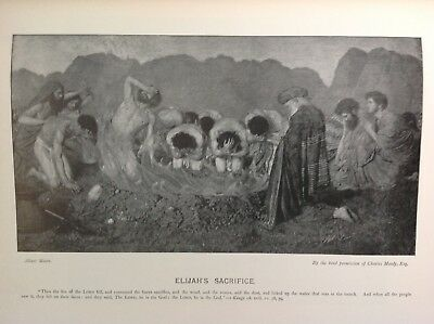 Elijah' Sacrifice,   Antique 1898 Print, religion, arts