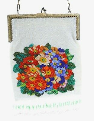 Small Vintage Micro BEADED PURSE BRIGHT FLORAL