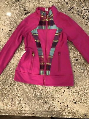 Ivivva By Lululemon Girls Coat jacket Pink plaid sz 10 medium