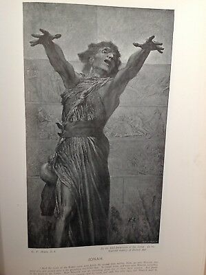 Jonah,  Antique 1898 Print, religion, arts