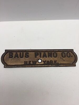 "Early 11"" x 2.5"" Piano Brass Emblem Badge JACOB DOLL / BAUS PIANO CO. NEW YORK"