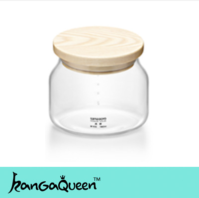 Glass Storage Jar With North America Solid Wood Lid Kitchenware Glassware 480ml