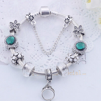 Antique 925 silver green CZ beads charm bracelet with charms fit women original