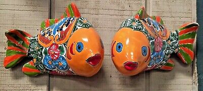 TALAVERA MEXICAN POTTERY -  ANIMALS - COLORFUL set of 2 FISH (Assorted Colors)
