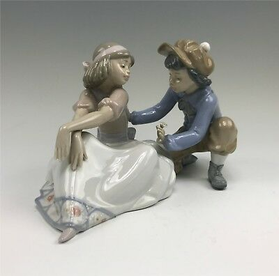 Large Lladro Figurine, For Me? Boy Offering Flower to Girl #5454
