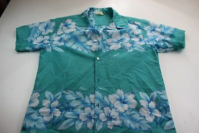 VINTAGE Orchid Fashions Made In Hawaii Sea Green Floral Button Up Shirt Medium M
