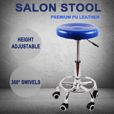 Salon Stool Hairdressing Swivel Barber Chair Seat Beauty Hydraulic Lift PU Blue