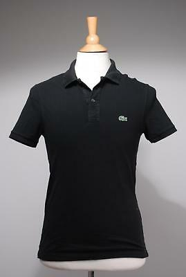 Lacoste Black Tweed Cotton Slim Fit Polo Shirt Size 5