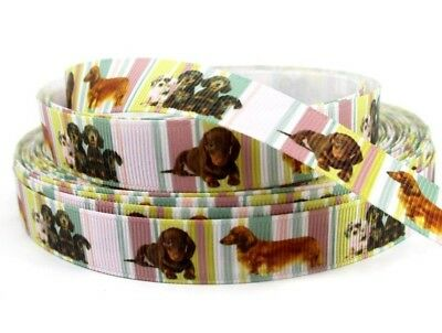 """LITTLE DOGS MIXED #1 - STRIPED BACKGROUND - GROSGRAIN RIBBON 15mm / 5/8"""""""