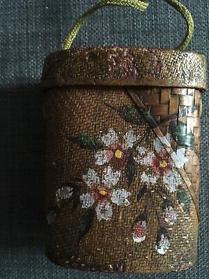 Japanese Antique INRO woven Tobacco pouch with ojime  Cherry Blossom Pattern