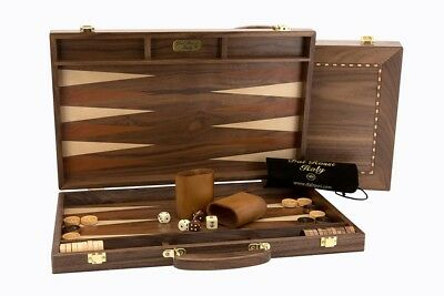 "Dal Rossi Backgammon, Walnut With Handle, 18"" - DISPLAY ITEM"