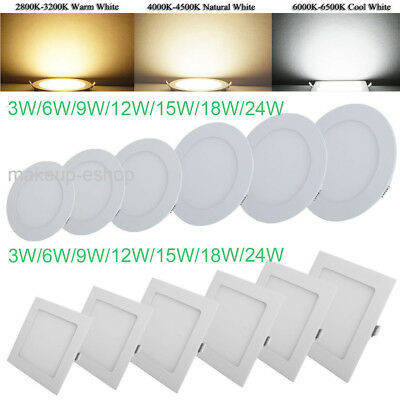 LED Panel Dimmable 3-24W Round Square Recessed Ceiling Down Light Ultraslim ES