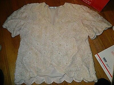 Lawrence Kazar White Sequin and Beaded Top Womens Sz XL