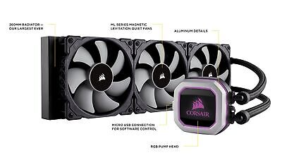 Corsair Hydro H150i Pro RGB Liquid CPU Cooler 3X 12cm ML PWM Fan 36cm Radiator