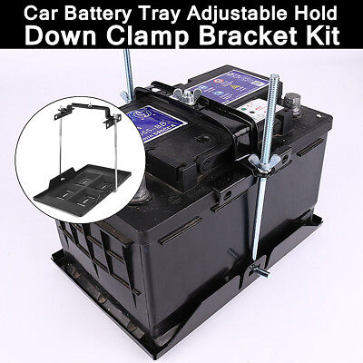 345 *193mm Car Battery Tray + Adjustable Hold Down Clamp Bracket Kit Cycle
