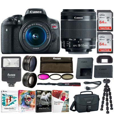 Canon EOS Rebel T6i DSLR Camera 18-55mm IS STM Lens with 128GB and Flash Bundle