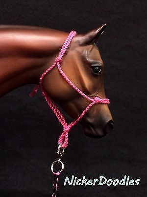 Model horse rope halter & lead rope-Pink-Traditional (1:9) size