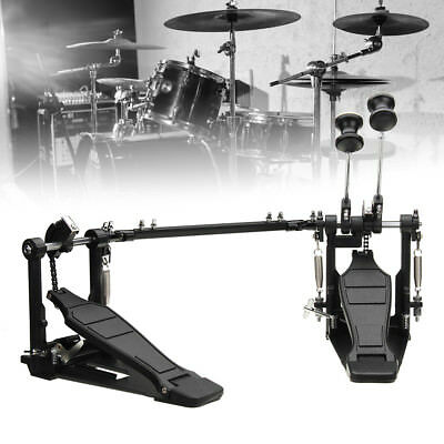 Professional Double Kick Bass Drum Pedal Twin Dual Chain Drive Percussion Alloy