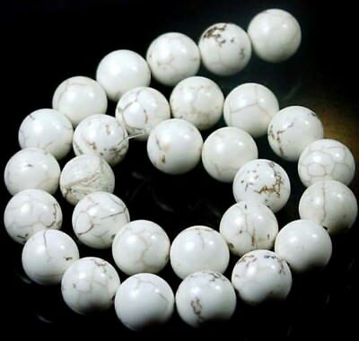 """14mm White Turquoise Spider Web Round Beads 15.5"""""""