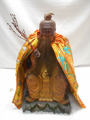 Antique Heavy Solid Wooden Carved CHINESE STATUE  Immortal God Emperor #2