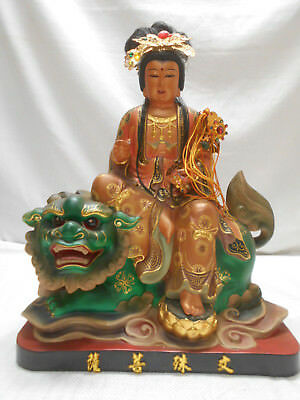 Antique Heavy Solid Wooden Carved CHINESE STATUE Goddess Immortal Dragon #1