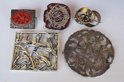LOT of Sterling Silver Brooches Rolled Gold Metal work 925 Vintage Antique