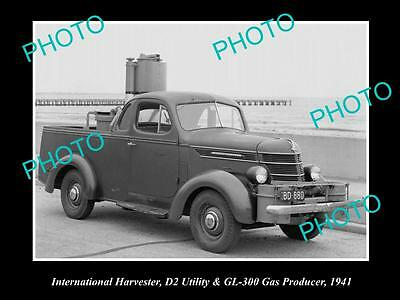 Old Large Historic Photo Of International Harvester D2 Ute & Gas Producer 1941